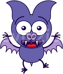 Purple bat feeling surprised and scared Stock Vector