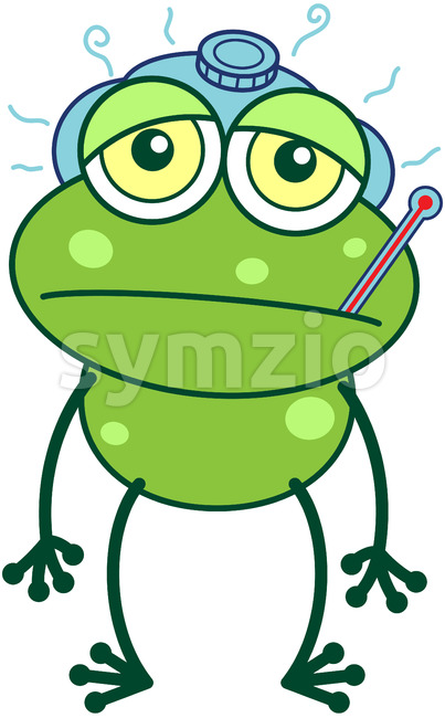 Green frog getting sick Stock Vector