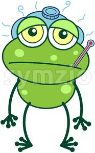 Green frog getting sick Stock Vector