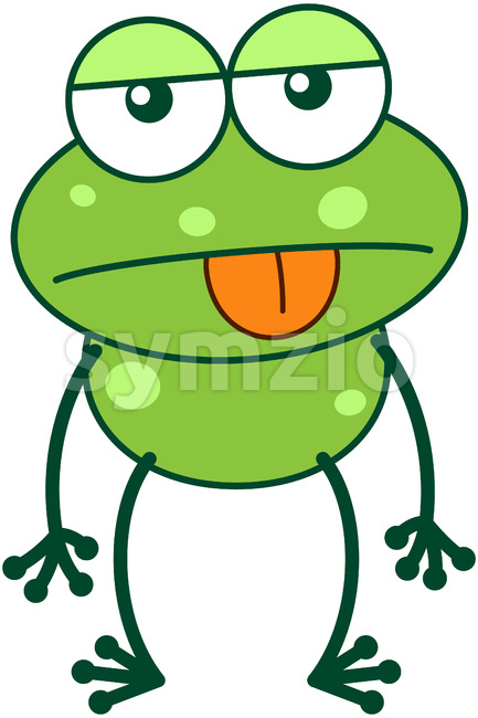 Green frog expressing apathy Stock Vector