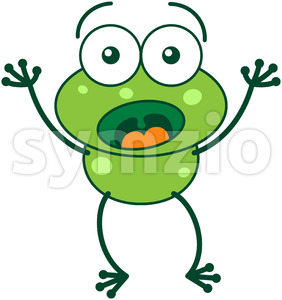 Green frog feeling surprised and scared Stock Vector