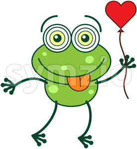 Green frog falling in love Stock Vector