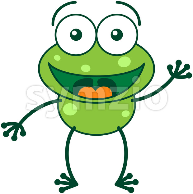 Nice green frog waving and greeting Stock Vector