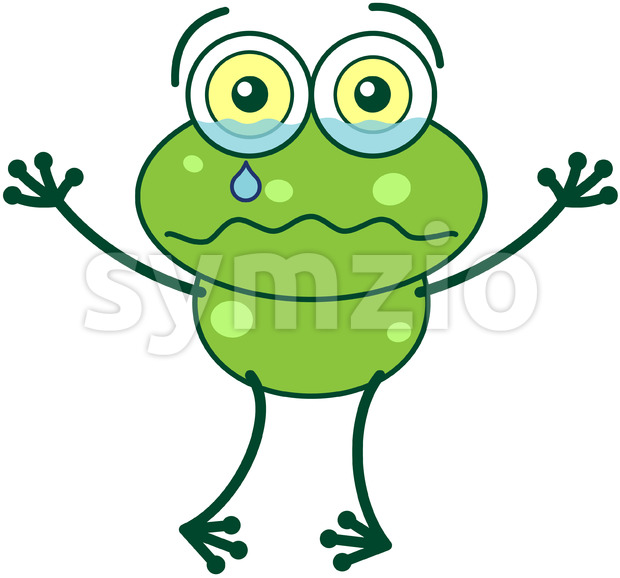 Green frog feeling sad and crying Stock Vector
