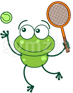 Green frog playing tennis Stock Vector