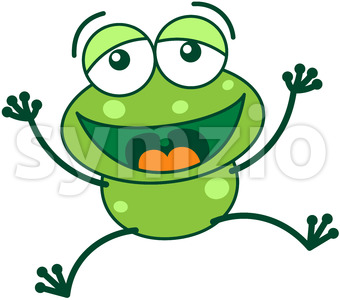 Green frog laughing and celebrating big Stock Vector