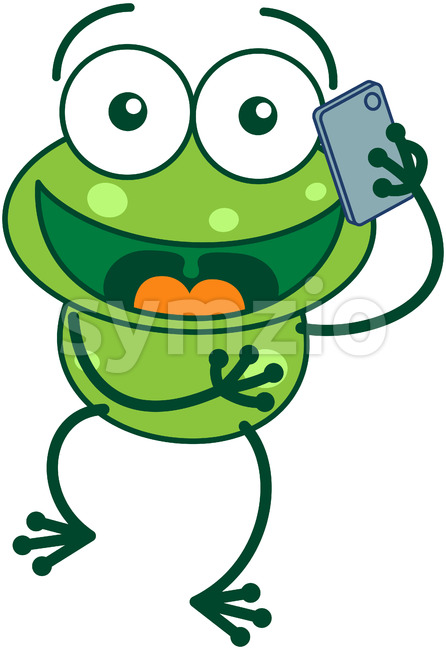 Green frog talking on a smartphone Stock Vector