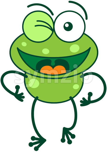 Green frog winking and making thumbs up Stock Vector