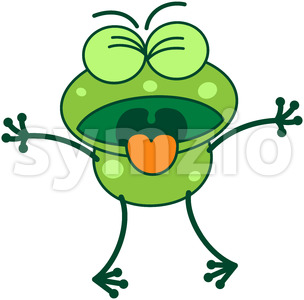 Disgusted green frog Stock Vector