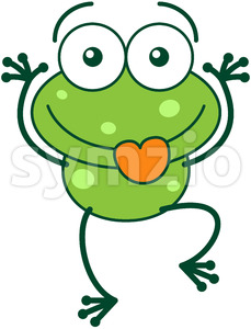 Green frog making funny faces Stock Vector