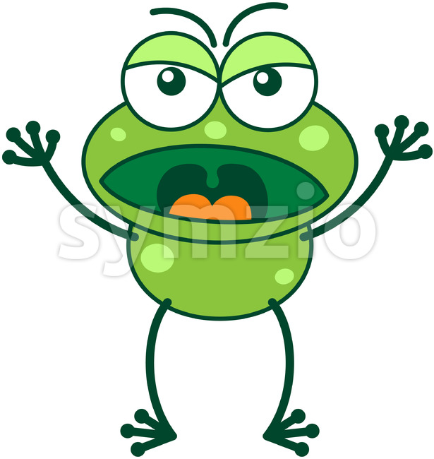 Angry frog yelling at someone Stock Vector