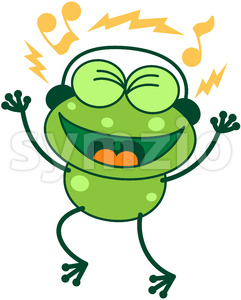 Leggy green frog wearing earphones Stock Vector