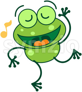 Nice green frog singing and dancing Stock Vector