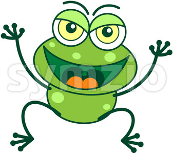 Naughty green frog celebrating a prank Stock Vector