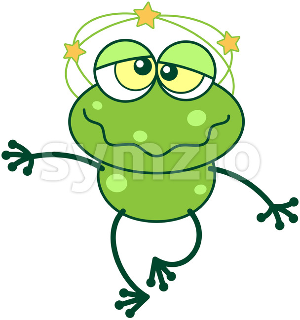Cute green frog feeling dizzy Stock Vector