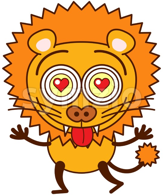 Brave lion falling madly in love Stock Vector