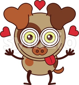 Nice dog feeling madly in love Stock Vector