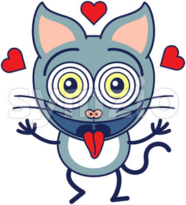 Funny cat feeling madly in love Stock Vector