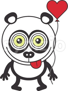 Panda bear feeling in love and holding a balloon Stock Vector
