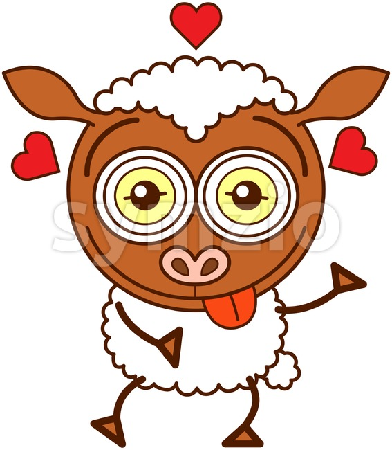 Sweet brown sheep falling madly in love Stock Vector