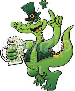 Saint Paddy's Day crocodile drinking beer Stock Vector