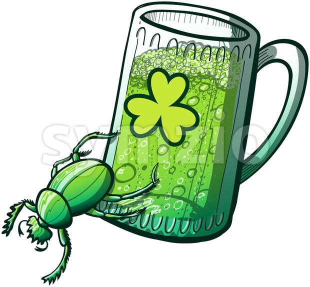Saint Patrick's Day powerful green beetle Stock Vector