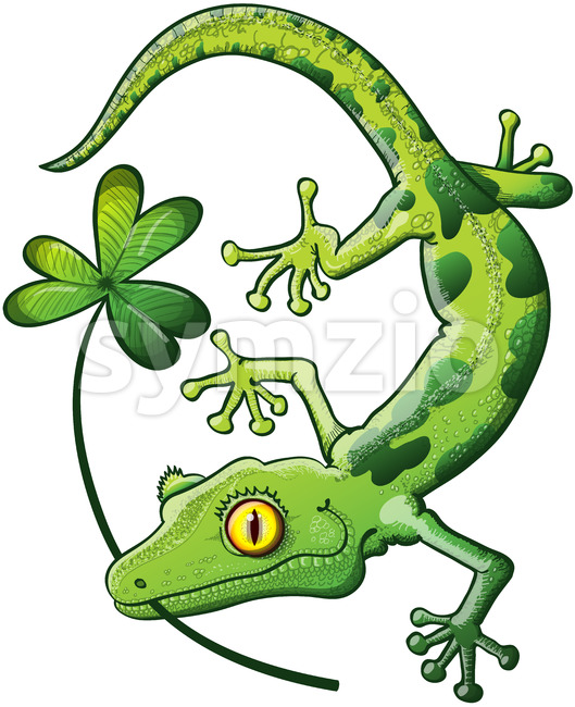 Saint Patrick's Day gecko holding a clover Stock Vector