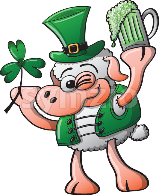 Irish sheep celebrating Saint Patrick's Day Stock Vector