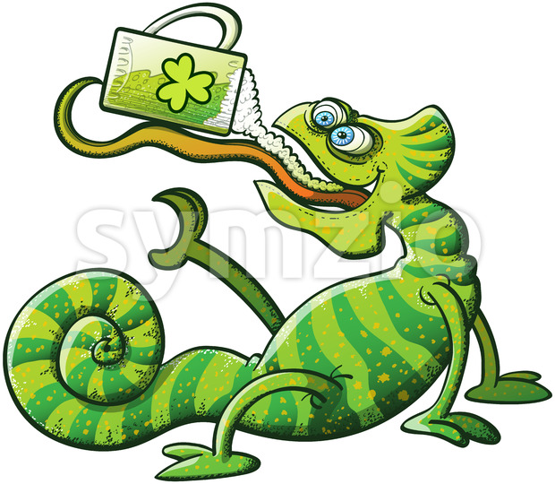 St Patrick's Day chameleon drinking beer Stock Vector