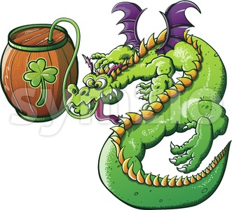 St Patrick's Day green dragon drinking beer Stock Vector
