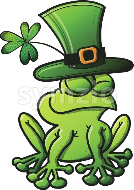 Saint Patrick's Day smiling green frog Stock Vector
