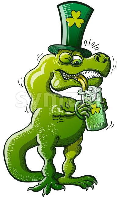 St Patrick's Tyrannosaurus Rex drinking beer Stock Vector