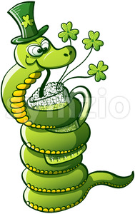 Green snake drinking Saint Patrick's Day beer Stock Vector