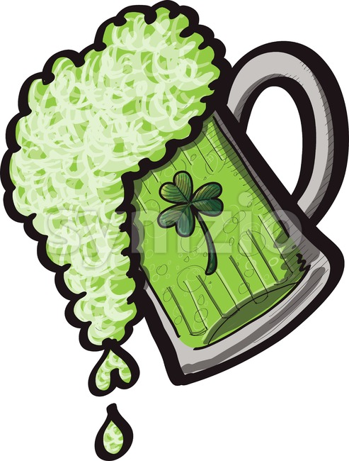 Saint Patrick's Day mug of beer Stock Vector