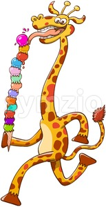 Long-necked giraffe eating ice cream Stock Vector