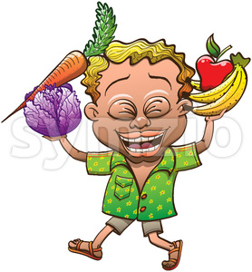 Happy boy carrying fruits and vegetables Stock Vector