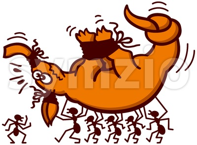 Aardvark kidnapped by a troop of brave ants Stock Vector