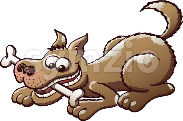 Mischievous dog playing with a bone Stock Vector