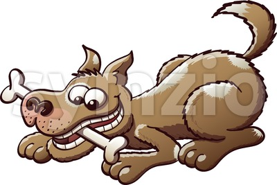 Mischievous dog ​​playing with a bone Stock Vector