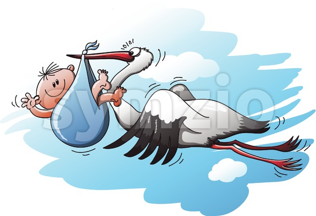 Stork delivering a newborn baby in a blue bag Stock Vector