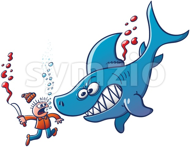 Angry blue shark fighting against finning Stock Vector