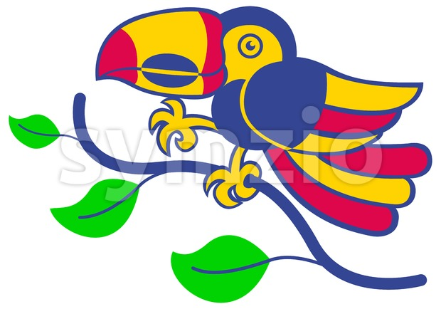 Colorful Amazonian Toucan smiling Stock Vector