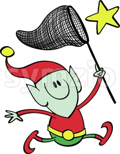 Christmas elf chasing a star with a net Stock Vector