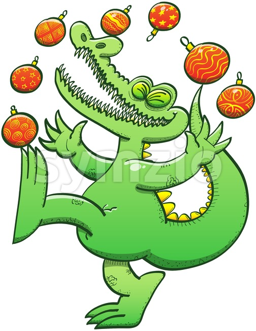 Green crocodile juggling Christmas baubles Stock Vector
