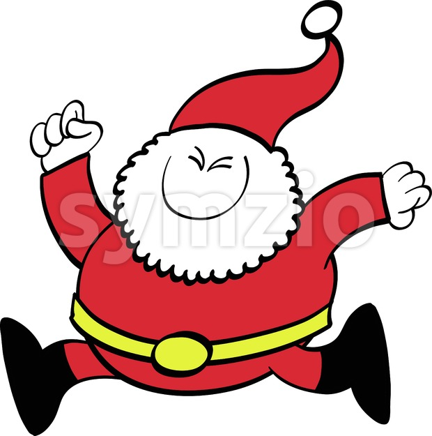 Christmas Santa Claus running joyfully Stock Vector