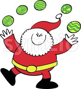 Cute Santa Claus juggling Xmas baubles Stock Vector