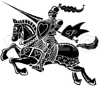 Black loving knight Stock Vector