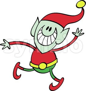 Christmas elf grinning and waving animatedly Stock Vector