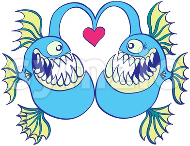 Deep sea fishes falling in love Stock Vector