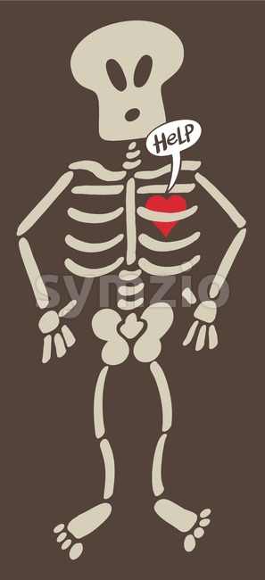 Distressed heart imprisoned inside a skeleton Stock Vector